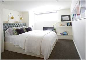Interesting white bedding for tiny basement bedroom ideas with bright