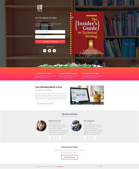 ebook landing page design template for online ebook
