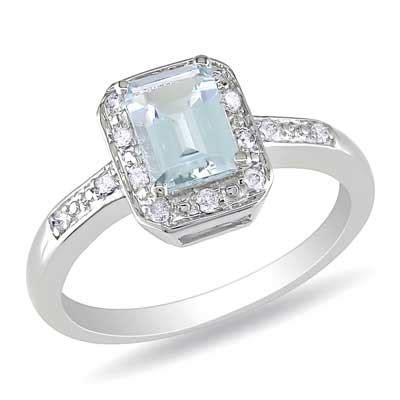 emerald cut aquamarine and accent promise ring in