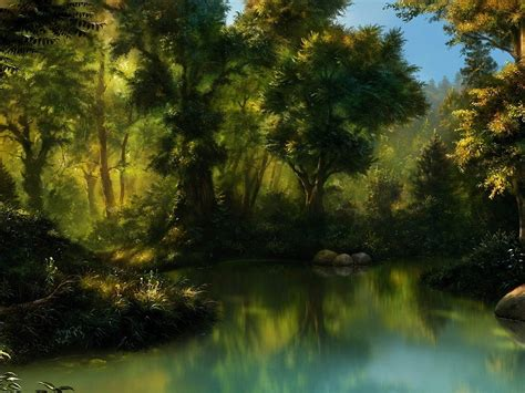 forest sea painting wallpapers forest sea painting