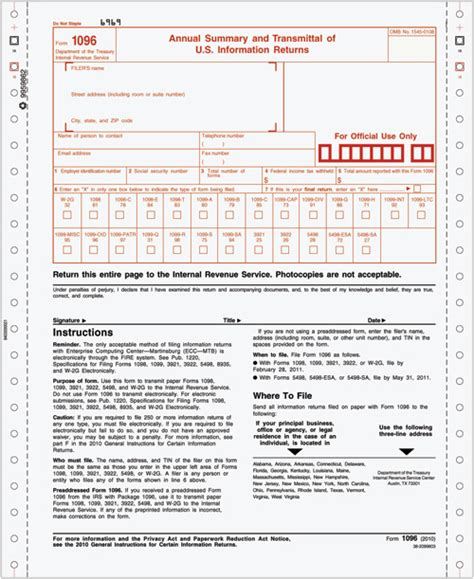 sle 1096 form filled out tax forms 1096 continuous annual summary transmittal