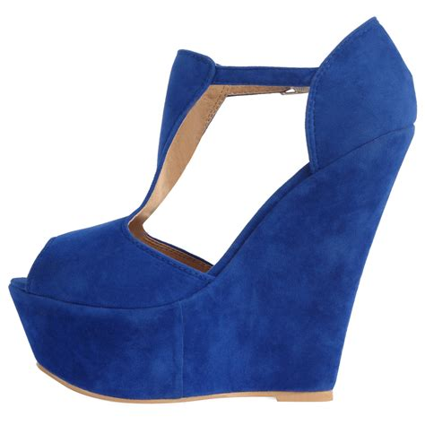 New Wedges Electric Blue Paling Murah new womens t bar peep toe platform wedge high heel shoes size 5 10 ebay