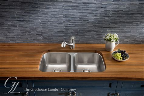teak wood countertop with undermount sink in leola pa