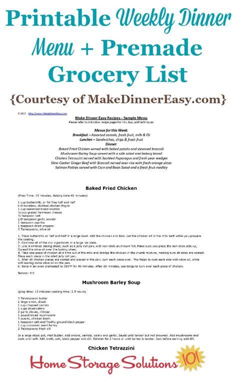 menu for dinner at home printable weekly dinner menu with premade grocery list sle