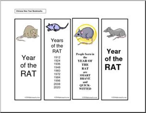 bookmarks chinese year of the rat abcteach