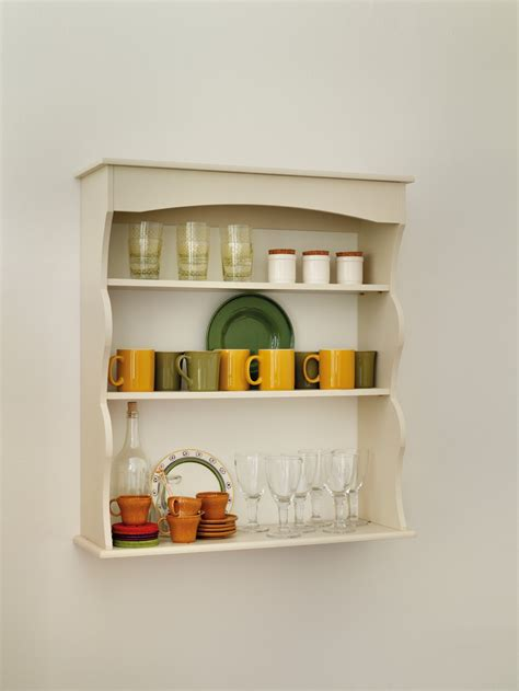 cream kitchen wall shelves