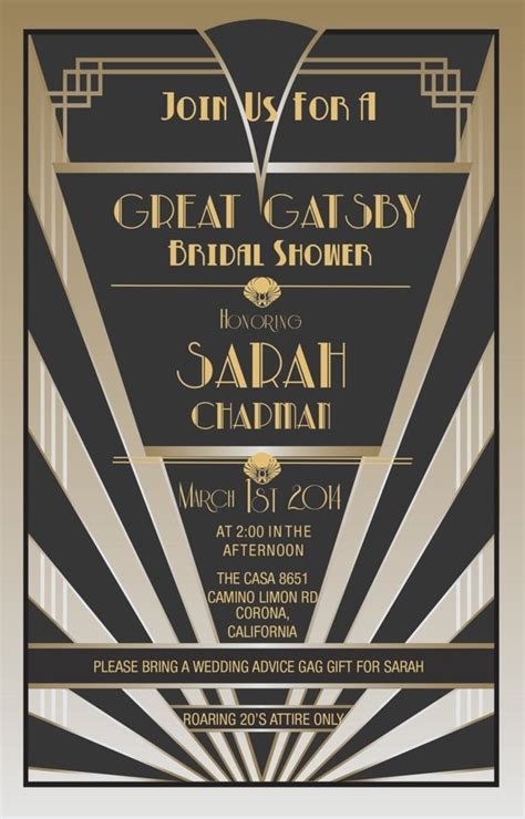Items Similar To Great Gatsby Invitations Gatsby Style Roaring 20s On Etsy Great Gatsby Themed Invitation Template Free
