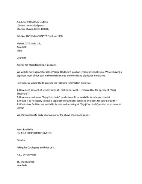 Business Letter For Dealership Business Letter For Dealership Enquiry Cover Letter Templates