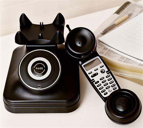 Pottery Barn Retro Phone new pottery barn grand cordless phone retro vintage inspired black digital ebay