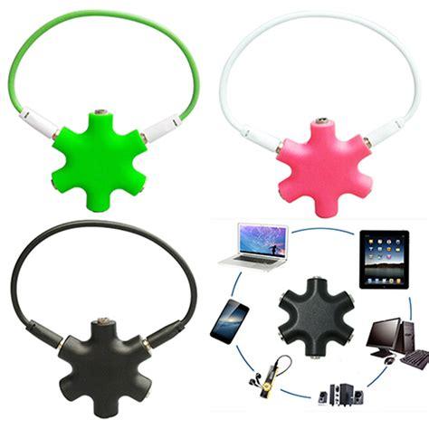 6 Way Ports To 5 Audio Earphone 3 5mm Splitter Adap top quality 3 5mm 5 way port aux multi headphone earphone audio splitter lead adapter converter