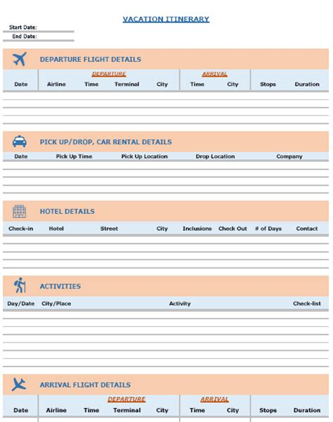 template travel itinerary vacation itinerary packing list template in excel