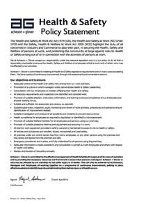 company health and safety policy template health safety policy statement acheson