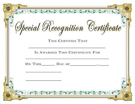 scholastic certificates special recognition certificate