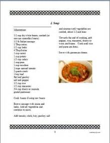 recipe book page template cookbook software for and printing a family recipe book