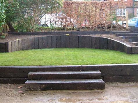 Gardens With Sleepers Ideas Railways Sleepers Ideas Quot Sloping גינה Pinterest Railway Sleepers Gardens And