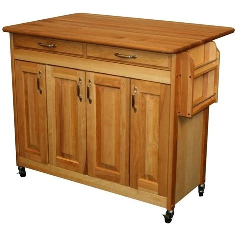 Drop Leaf Kitchen Islands Catskill Craftsmen 44 Inch Butcher Block Drop Leaf Kitchen Island 54228