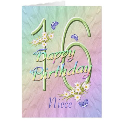 Birthday Card For Niece Niece 16th Birthday Butterflies And Flowers Card Zazzle