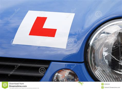L For Car l plate on car front view royalty free stock photos