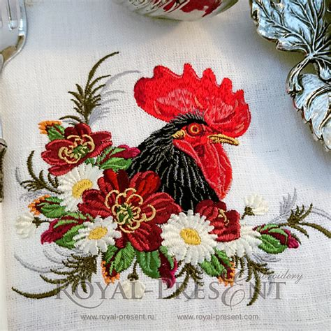 etsy embroidery pattern machine embroidery design rooster in a thicket of flowers 2