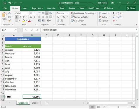 Calculating Percentages Worksheet