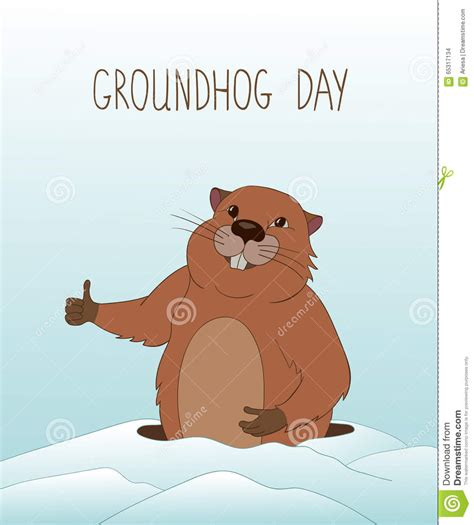 groundhog day duration groundhog day greeting card stock vector image 65317134