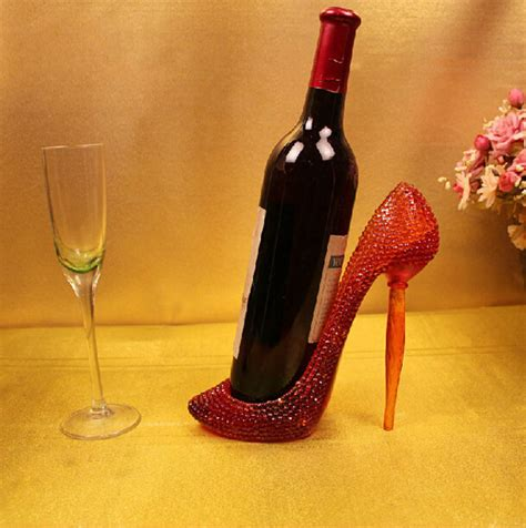 shoe home decor resin red stiletto high heel shoe wine bottle holder