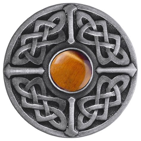 celtic knob antique pewter with tiger eye traditional