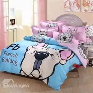 Full Queen Duvet Size Luminous French Bulldog Print Cotton 4 Piece Duvet Cover