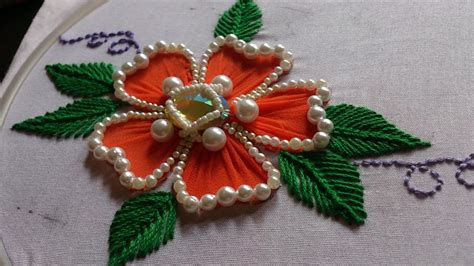 embroidery design making hand embroidery flower stitch design beads work youtube