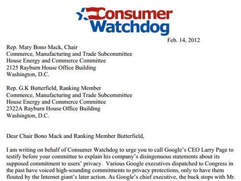 Consumer Explanation Letter Exle Consumer Watchdog Asks Congress To Call Google S Ceo Larry