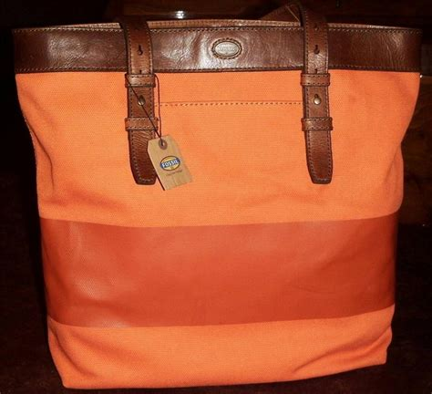 Tas Fossil Original Fossil Estate Canvass Backpack Nwt fossil new estate cb utility bag large tote coated canvas orange nwt 148 ebay