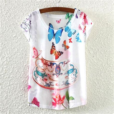 butterfly pattern t shirt colorful butterfly pattern tshirt women summer clothing