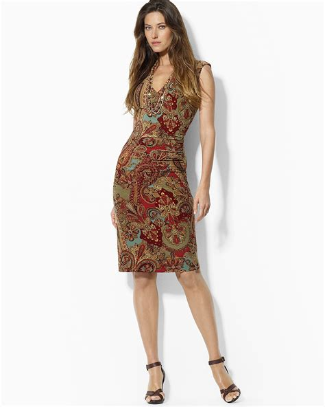 Gamis Jersey Dress By Naura ralph petites paisley jersey faux wrap dress