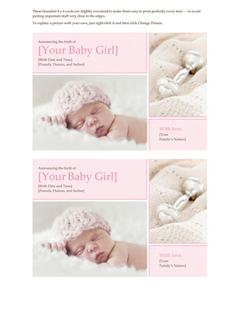 baby birth announcement card template free baby birth announcement card template free