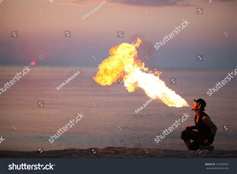 the breathing sea i burning the zemnian series volume 3 books amazing firebreathing on sunset stock photo