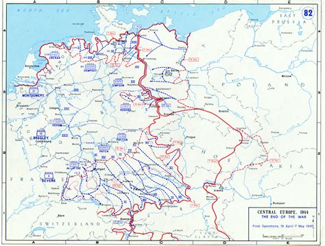 map of germany 1945 allied battle lines in germany from 19 april to 7 may 1945