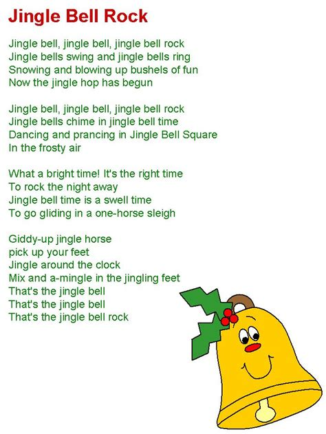 free printable jingle bell rock lyrics jingle bell rock lyrics christmas pinterest