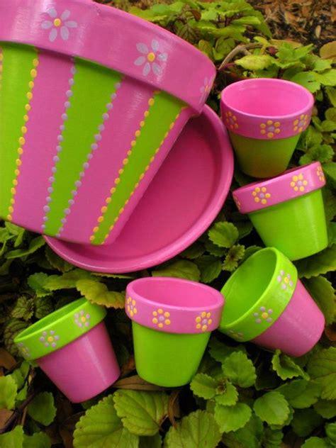 wedding favors hand painted flower pots  happymoosegardenart