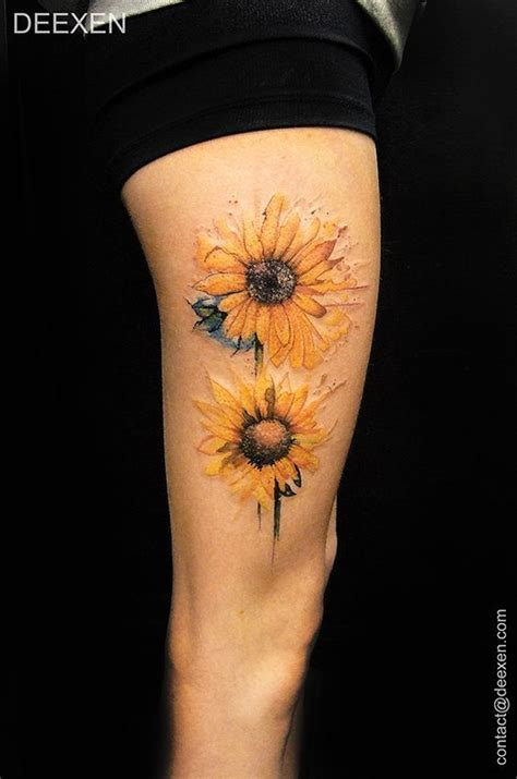 sunflower watercolor tattoo best 20 colorful sunflower ideas on