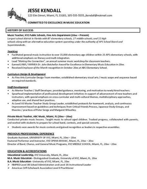 music teacher resume sles teacher resume exles