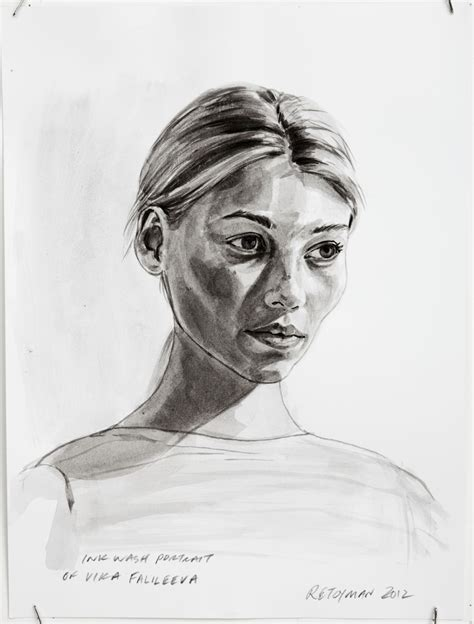 women who will ink you ink wash portrait of vika falileeva 9x12 ink wash on