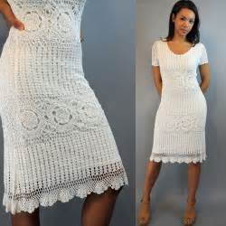 Vintage 80s dress crochet dress white by rockstreetvintage