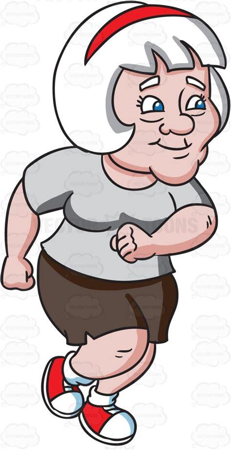 A Joyful Grandma Jogging To Make Her Health Better Cartoon Clipart   Vector Toons