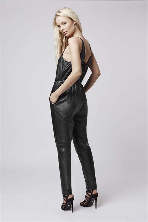 topshop leather jumpsuit  black lyst