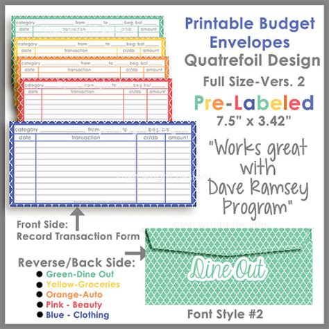 envelope budget system template items similar to quatrefoil printable envelope ver 2