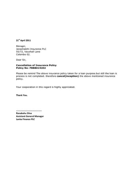 letter format for cancellation of insurance policy best photos of cancellation termination letter sle