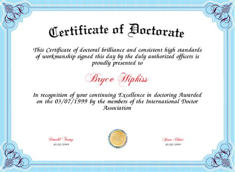 doctorate degree certificate template certificate of doctorate certificate created with