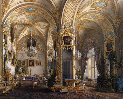 palace interior interiors of the winter palace the drawing room in rococo ii style with cupids