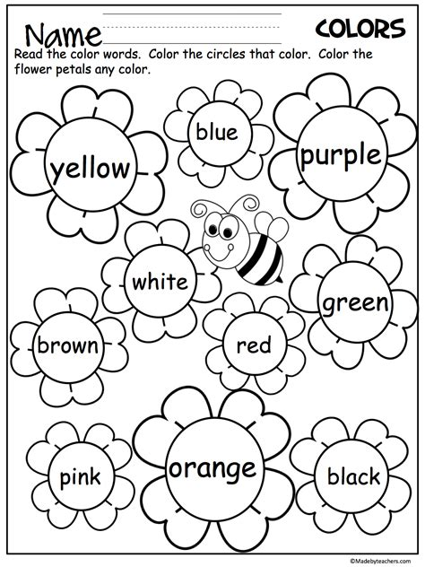 color worksheets flower color words worksheet madebyteachers