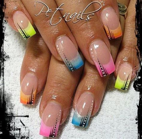 argyle pattern nail art french tip nail designs rainbow tips french nails